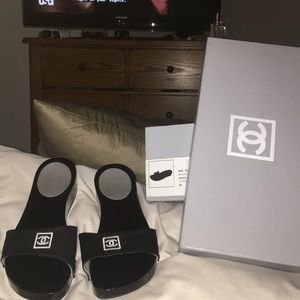 Chanel sandals wood w/suede uppers size 6